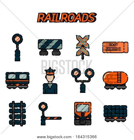 Railway, Railroads flat icons set with train locomotive wagon conductor isolated vector illustration