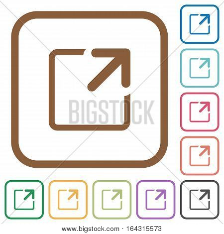 Maximize window simple icons in color rounded square frames on white background