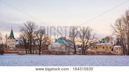 The ruins of the fortress of Fedorovsky town in Tsarskoye Selo (Pushkin), St. Petersburg in the winter evening