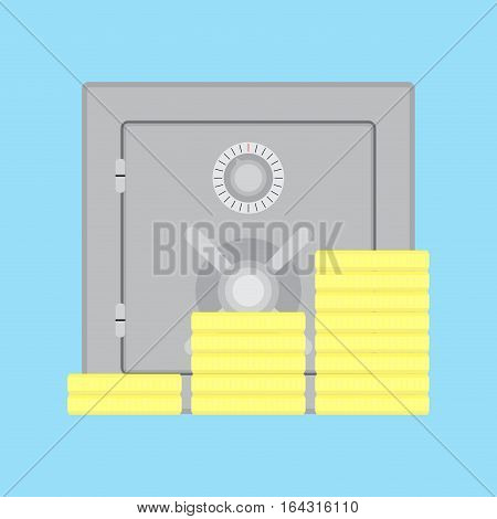 Storage of money on deposit in safe. Deposit safe bank finance safety and security vector illustration