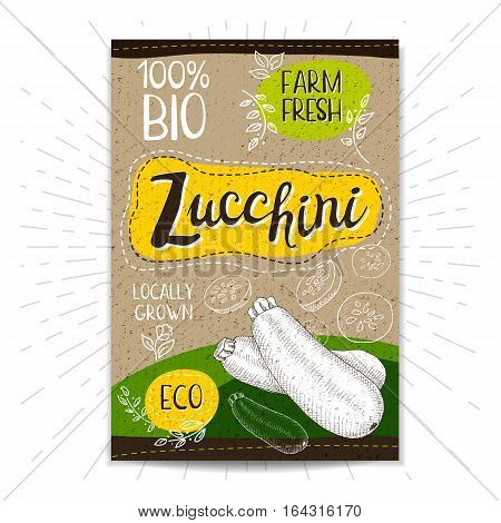 Colorful label in sketch style, food, spices, cardboard textured background. Zucchini. Vegetables. Bio, eco, farm, fresh. locally grown. Hand drawn vector illustration.