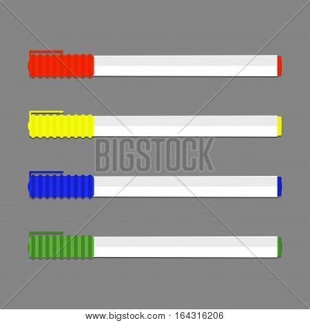 Set of colored permanent marker. Pencil for highlight marker for whiteboard. Vector illustration