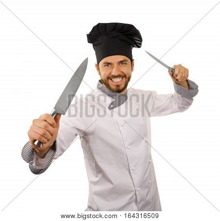 chef cook with knives in hands isolated on white background