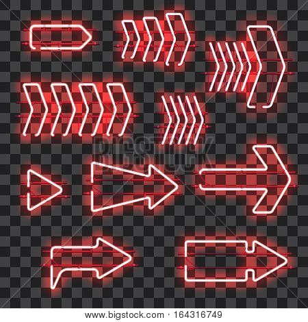 Set of glowing red neon arrows isolated on transparent background. Shining and glowing neon effect. Every arrow is separate unit with wires, tubes, brackets and holders. Vector illustration.