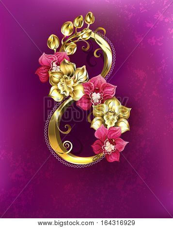 Eight Gold with gold and pink orchids on a pink textural background. Festival March 8. International Women's Day.