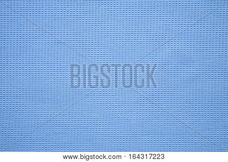 Natural Cotton Waffle weave Fabric Cloth texture. Light Blue Kitchen towel textile Background or Wallpaper close up. Web banner Horizontal Image With Copy Space