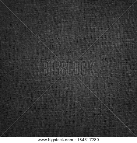 Coarse grey Canvas Fabric Cloth Burlap Sack texture with darkened edges. Rough grunge background or wallpaper close up. Web banner Square Image