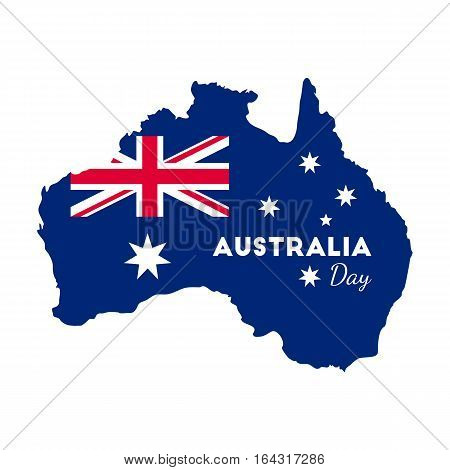 Happy Australia Day -  26 january. Poster with Australia map on isolated backgrund. Vector illustration