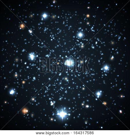 Far And Near Stars On A Dark Background.