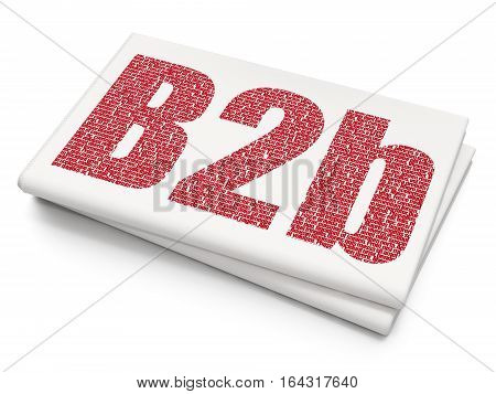 Business concept: Pixelated red text B2b on Blank Newspaper background, 3D rendering