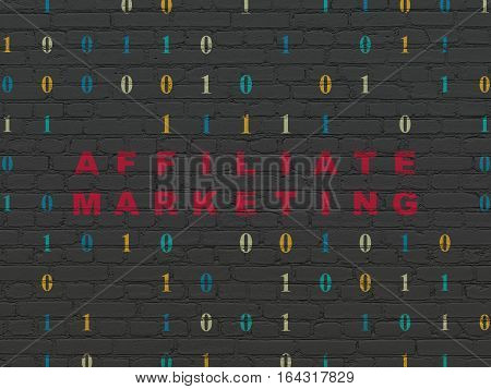Business concept: Painted red text Affiliate Marketing on Black Brick wall background with Binary Code