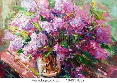 Flowers Lilac, Oil Painting, Impressionism Style, Still Life Art Colored Color Image, Wallpaper And