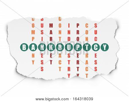 Finance concept: Painted green word Bankruptcy in solving Crossword Puzzle on Torn Paper background