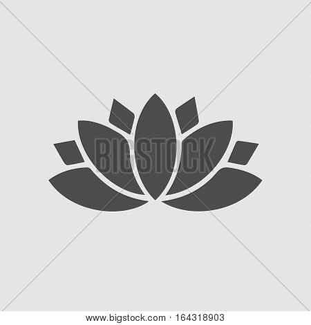 Lotus flower vector icon eps 10. Spiritual simple silhouette symbol.