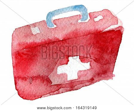watercolor sketch of first aid kit on white background