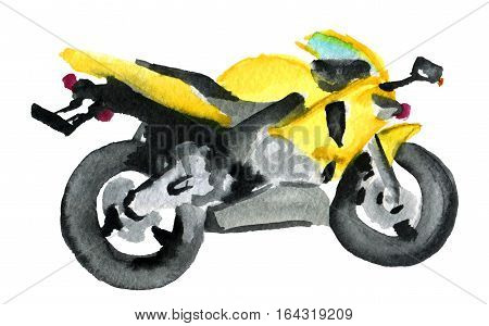 watercolor sketch of sport motorcycle on white background