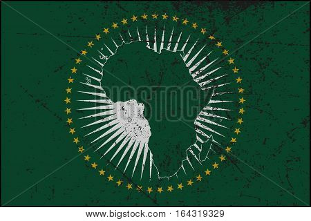 An Grunged African Union flag design in green