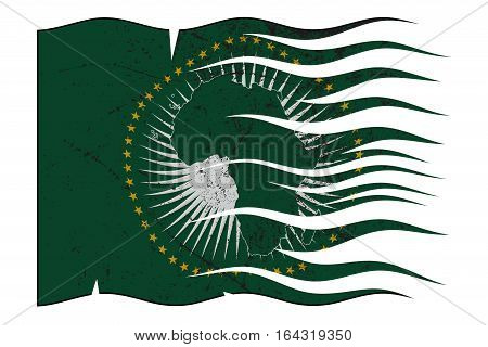 African Union Flag Wavy And Grunged