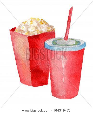 watercolor sketch of paper cup with drink and popcorn on white background