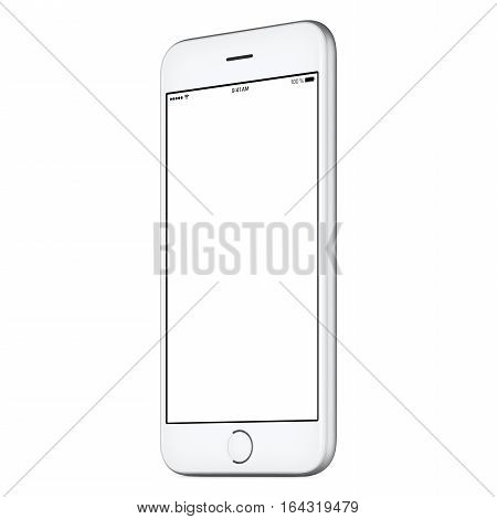 White mobile smart phone mockup slightly clockwise rotated with blank screen isolated on white background. You can use this mock-up for portfolio or UI design presentation or ad campaign.