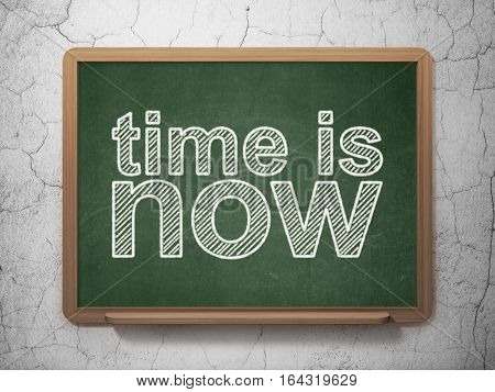 Time concept: text Time is Now on Green chalkboard on grunge wall background, 3D rendering
