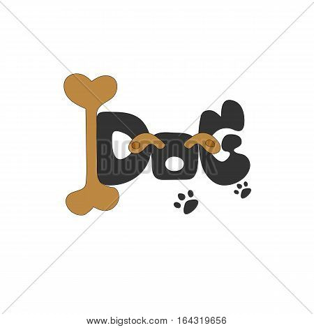 dog text idea vector on white background