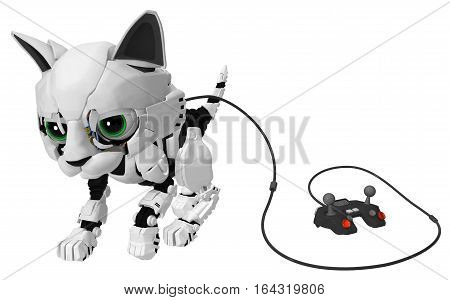 Robotic kitten with wired controller 3d illustration horizontal isolated