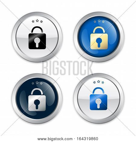 safety seals or icons with padlock symbol. Glossy silver seals or buttons
