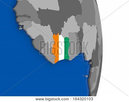 Ivory Coast On Globe With Flag