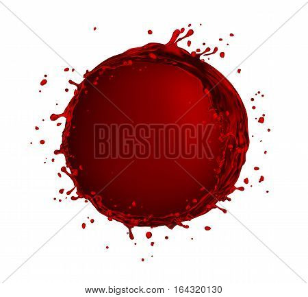 vector red wine splash circle shape on white background