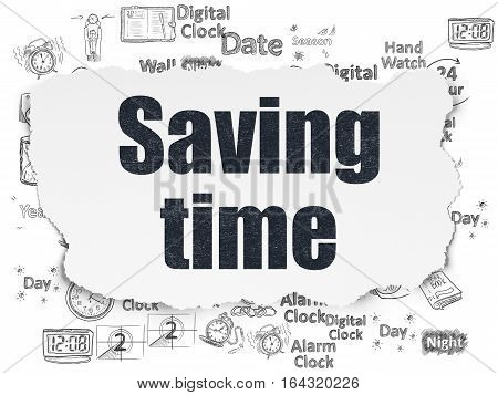 Time concept: Painted black text Saving Time on Torn Paper background with  Hand Drawing Time Icons