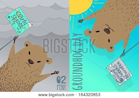 Happy Groundhog Day card design. Hand drawn infographic. For web or print.