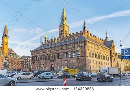 COPENHAGEN DENMARK - DECEMBER 23 2016: View of Copenhagen city hall Denmark.