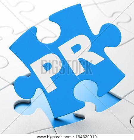 Advertising concept: PR on Blue puzzle pieces background, 3D rendering