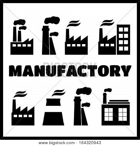 Set of industry manufactory building icons. Plant and factory power and smoke oil and energy
