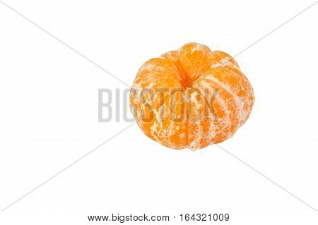 Single peeled orange is isolated on white background with clipping path.