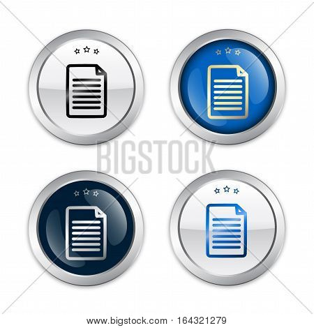 Document seals or icons. Glossy silver seals or buttons.