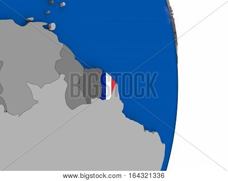 French Guiana On Globe With Flag