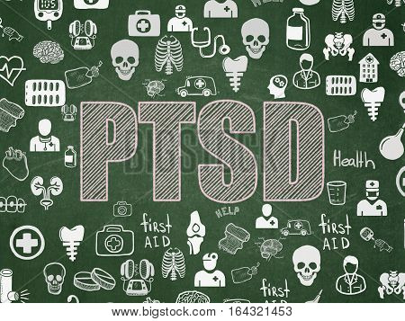 Medicine concept: Chalk Pink text PTSD on School board background with  Hand Drawn Medicine Icons, School Board