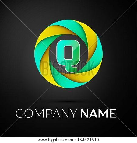 Letter Q vector logo symbol in the colorful circle on black background. Vector template for your design
