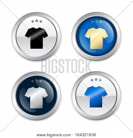 Fashion seals or icons with shirt symbol. Glossy silver seals or buttons with stars.