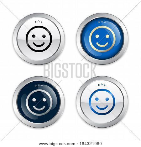 Best choice seals or icons with smiley symbol. Glossy silver seals or buttons.