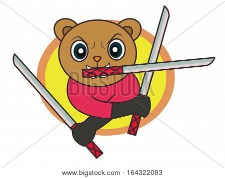 Ninja Bear with Three Swords Cartoon Character