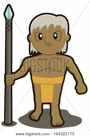 Native Tribe Soldier with Spear Cartoon Character. Vector Illustration.