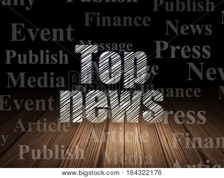 News concept: Glowing text Top News in grunge dark room with Wooden Floor, black background with  Tag Cloud