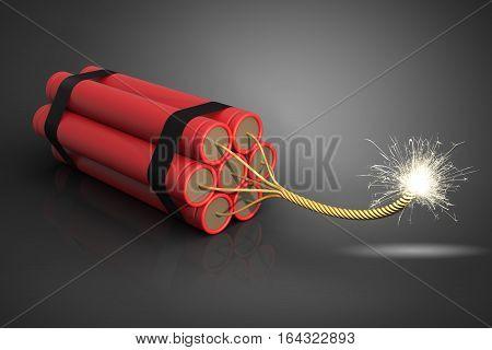 Explosive dynamite on dark background 3D rendering