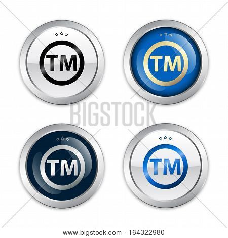 Registered trademark seals or icons. Glossy silver seals or buttons.