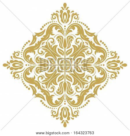 Oriental vector golden square pattern with arabesques and floral elements. Traditional classic ornament. Vintage pattern with arabesques
