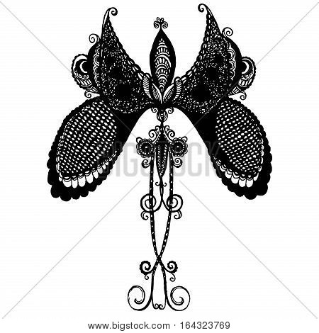 Black delicate butterfly with long beautiful mustache