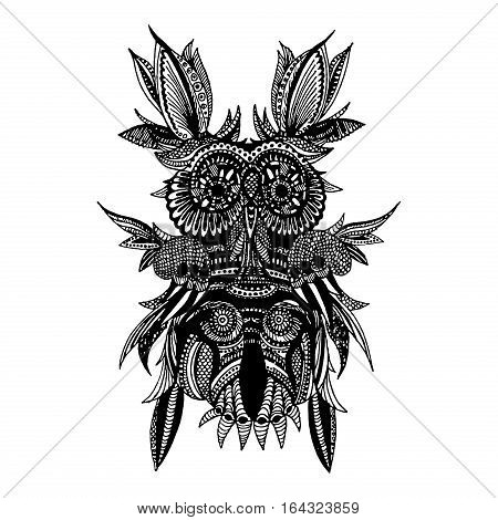 Black delicate owl with long beautiful feathers